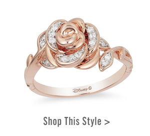 Enchanted Disney Belle 0.085 CT. T.W. Diamond Rose Ring in 10K Rose Gold. Shop This Style >