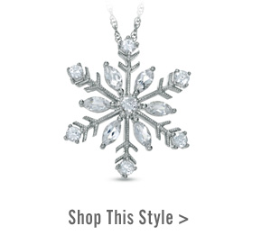 Lab-Created White Sapphire Snowflake Pendant in Sterling Silver. Shop This Style >