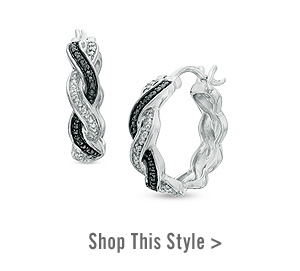 Enhanced Black and White Diamond Accent Braid Hoop Earrings in Sterling Silver. Shop This Style >