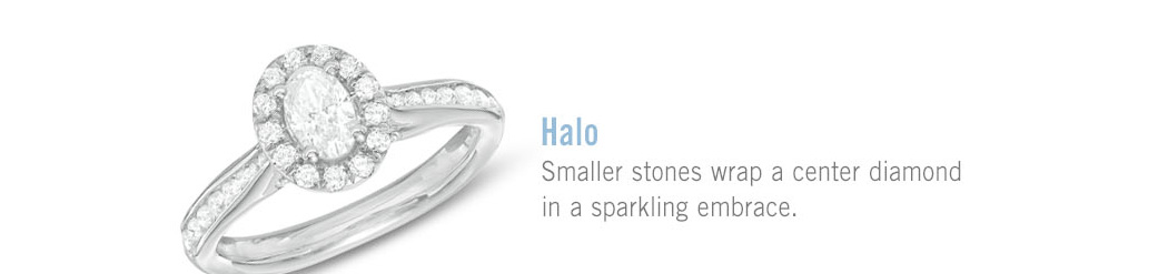 Halo: Smaller stones wrap a center diamond in a sparkling embrace.