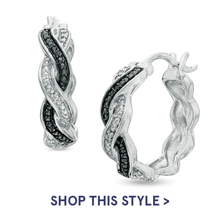 Enhanced Black and White Diamond Accent Braid Hoop Earrings in Sterling Silver | Shop This Style