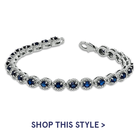 Oval Lab-Created Blue Sapphire and Diamond Accent Bracelet in Sterling Silver | Shop This Style