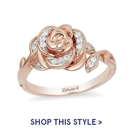 Enchanted Disney Belle 0.085 CT. T.W. Diamond Rose Ring in 10K Rose Gold | Shop This Style