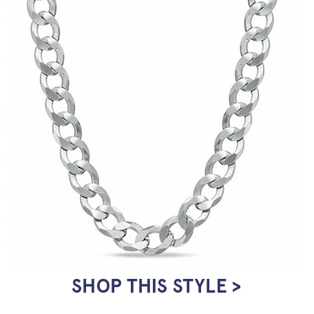 Men's 7.0mm Curb Chain Necklace in Sterling Silver | Shop This Style