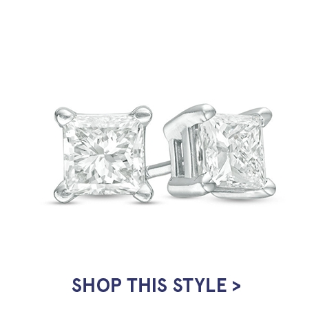 Princess-Cut Diamond Accent Crown Royal Earrings in 14K White Gold | Shop This Style